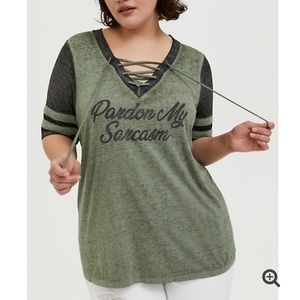 Torrid SARCASM LIGHT OLIVE GREEN BURNOUT tee